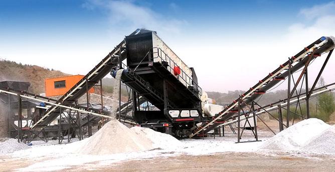 時產100-200噸石頭移動破碎站生產現場